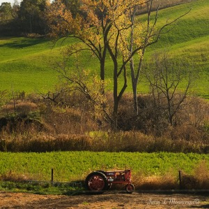 A tractor that may have seen its glory days in an earlier decade sits in a filed in rural Plymouth County, Iowa Monday Oct. 24, 2016.       (Photo by Jerry L Mennenga©)