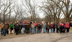 Area residents pose for a photograph before setting off on a 1st Day Hike at Stone State Park in Sioux City, Iowa Sunday, Jan. 1, 2017. A concerted effort by parks nationwide to get people out into nature in their area and introduce them to local parks and what is available. (photo by Jerry L Mennenga©)