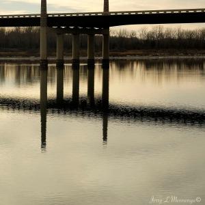 Reflection in the Missouri River near downtown Yankton, South Dakota Friday, Dec. 30, 2016. (photo by Jerry L Mennenga©)