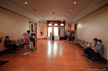 Visitors explore a former ballroom in the upper part of the Peirce Mansion in Sioux City, Iowa, Thursday July 13, 2017. (photo by Jerry L Mennenga©)