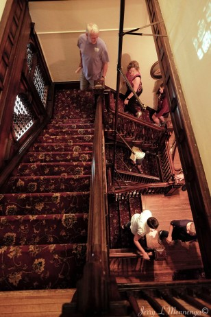 A single staircase leads visitors up and down the history of the Peirce Mansion in Sioux City, Iowa, Thursday July 13, 2017. (photo by Jerry L Mennenga©)